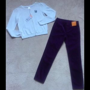 GYMBOREE Sweater & Purple Corduroy Pants Outfit, 8